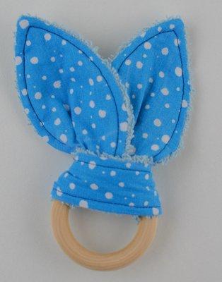 Bijtring met konijnenoren blauwe stip