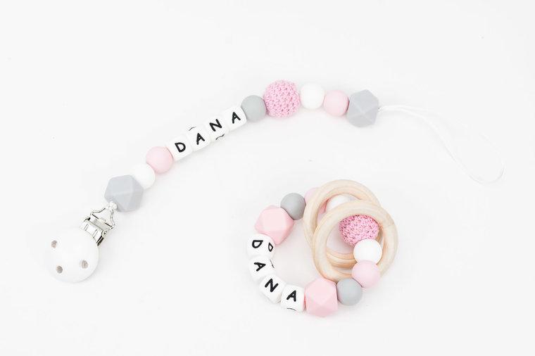 Speenkoord zacht roze/ grijs